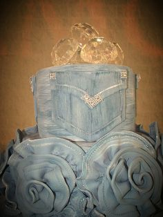 Top View of Denim and Diamonds Cake.  But without the flowers, more sparkles instead
