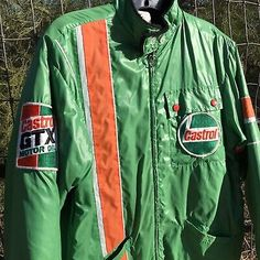 - Orange, White, Green racing stripes down the front vertically, and a horizontal armband racing stripe. Black Windbreaker, Vest Coat, Satin Jackets, Racing Stripes, Striped Jacket, Columbia Sportswear, Mens Xl, Man Clothes, Oil