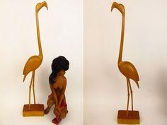 XXL Vintage Flamingo Vogel Figur Holzfigur, populäres Designobjekt der 60er von ShabbRockRepublic auf Etsy