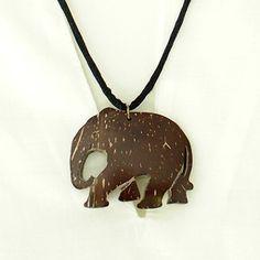SOLD Coconut Shell Elephant Pendant