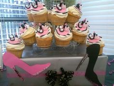 Adorable fondant make up topped cupcakes at a Diva Party #divaparty #cupcakes