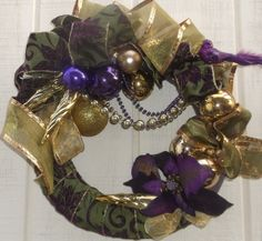 Purple and green ribbon wreath. Has gold and by GrandmasWreaths, $45 ...