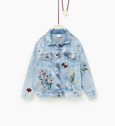 Image 1 of Embroidered denim jacket from Zara
