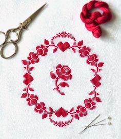 Sew French Blog ~ A Free Counted Cross Stitch Pattern.  Redwork Roses. Pretty cross stitch. Redwork embroidery. French cross stitch. Vintage cross stitch. Red hearts.