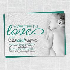 Nolan Custom Photo Birth Announcement