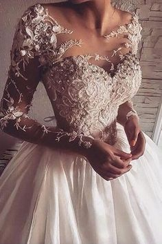 Illusion Jewel Neck Long Sleeve Wedding Dress With Applique .- Illusion Jewel Neck Langarm Brautkleid Mit Applikationen – Hochzeit und Braut Illusion Jewel Neck Long Sleeve Wedding Dress With Appliques – dress sleeve - Western Wedding Dresses, Long Wedding Dresses, Long Sleeve Wedding, Elegant Wedding Dress, Bridal Dresses, Wedding Gowns, Dresses Dresses, Homecoming Dresses, Wedding Ceremony