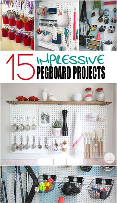 Amazing Pegboard Projects to decorate and organize your home. Tips, tricks, projects and pegboard tutorials. Painted Pegboard, Pegboard Organization, Organization Ideas, Pegboard Display, Bathroom Organization, Garage Tool Storage, Playroom Art, Up House, Kitchen Pegboard