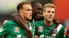 Newcastle Jets surprised everyone but themselves when they defeated WS Wanderers 1-2 on Sunday. Here, Adam Taggart, Emile Heskey & Andrew Hoole celebrate Taggart's goal