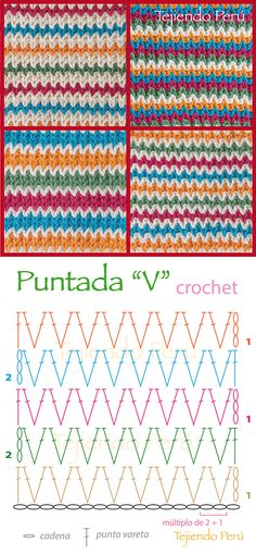 Puntada V o V stitch tejida a crochet: diagrama! Pueden hacer miles de combinaciones y todas se verán lindas :)