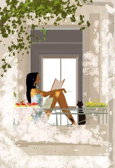 Pascal Campion Art added 394 new photos to the album: Daily sketches — with Joelle Tivollier and 34 others. Pascal Campion, Buch Design, Reading Art, Girl Reading, Student Reading, Black Art, Illustrators, Concept Art, Art Drawings