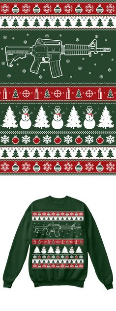 AR15 Christmas Sweater.  Printed on an actual sweater, not a long sleeve shirt this will become your favorite Christmas Sweater!  Click on image to order, comes in two different colors.