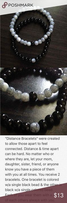 "Distance Bracelets Made with gray & black marble & black colored 6mm glass beads. Measures 3.5"" when folded in half; comfortable fit, flexible but not loose.   Wear one & share one. Keep a piece of each other with you, no matter the miles apart.   Balance Bracelets  Distance Bracelets Friendship Bracelets  Yin Yang Bracelets Handmade Jewelry Bracelets"