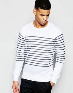 Super lækre Pull&Bear Striped Sweatshirt In White And Navy - White Pull&Bear Sweatere til Herrer i luksus kvalitet