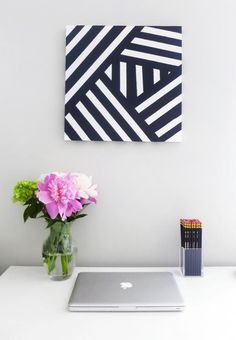 DIY Geometrisches Bild in Schwarz und Weiß