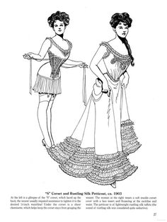 """Historical Fashion Coloring Pages 03/??""""S"""" Corset and Rustling Silk Petticoat, ca 1903From Late Victorian and Edwardian Fashions Coloring BookSource"""