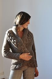 Ravelry: Opposite Pole pattern $ by Joji Locatelli - chunky circle-shaped fitted knit cardigan w/ cable trimming