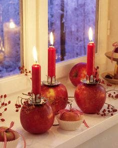 Apple with candle and rose hips