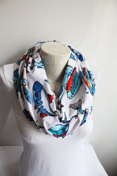 Fish Scarf Colorful Fishh Printed Infinity Scarf  Fashion Accessories  Gift Ideas for Her by dreamexpress from dreamexpress on Etsy. Find it now at http://ift.tt/1OzM4E6!