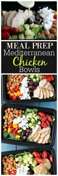Meal prep is essential to staying on track with a healthy eating plan. Dedicating a few extra minutes on weekends is time well spent! Weekday meals are a snap with Mediterranean chicken meal prep bowls Lunch Meal Prep, Meal Prep Bowls, Healthy Meal Prep, Healthy Recipes, Lunch Meals, Healthy Lunches, Healthy Eating Plans, Healthy Weekend Meals, Meal Prep Salads