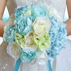 2017 Bouquet de mariage Turquoise&White Peony Rose Artifical Flowers Wedding Bouquet Bridesmaid Wedding Bouquet Bridal Bouquet