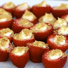 Strawberry cheesecake bites- okay, these were AMAZING!!! So easy and if you don't know how to cook, what to bring, trust me, make lots, cause they will be gone once the news travels! - Click image to find more Food & Drink Pinterest pins