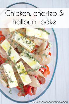 Chicken chorizo and halloumi bake via via www.clairekcreations.com