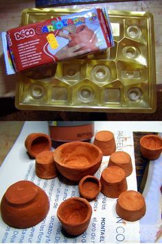 Use chocolates (bonbon) package as molds for pots - air dry clay - Penqueneces…Pequeñeces: Floristería- Florist's Flower pots with air dry clay and the base of a box of bombons as mould.Air-dry clay (or polymer) molded in a candy tray into mini pots. Miniature Crafts, Miniature Fairy Gardens, Miniature Dolls, Miniature Houses, Clay Miniatures, Dollhouse Miniatures, Diy Fimo, Vitrine Miniature, Doll House Crafts