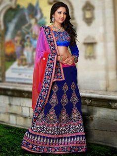 Blue Velvet Lehenga Choli With Embroidery Work www.saree.com