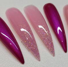 #pink #rose #violett #glitter #barbie #nails #fanzis