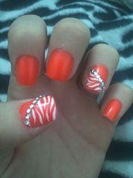 easy zebra design- start with 2 white coats, then use a skinny nail brush to create zebra stripes