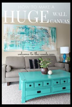 How to make a HUGE wall canvas for decor in your living room! DIY this decor from a curtain panel and old 2 x 4 wood. #diy_canvas_kids
