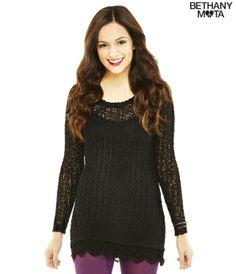 Long Sleeve Sheer Lace Hem Sweater Tunic