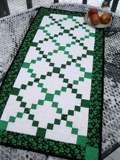 Shamrock Irish Chains 19x38 quilted table runner by pinetreelodge, $48.00