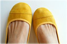 LUNAR Ballet Flats  Suede Shoes  39  Lemon Zest. by Lolliette