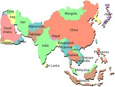 simple asia map with country names - Google-søk