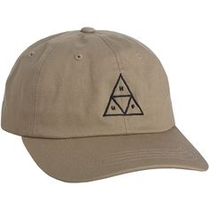 HUF The Triple Triangle Dad Hat in Khaki (42 AUD) ❤ liked on Polyvore featuring men's fashion, men's accessories, men's hats, khaki and huf