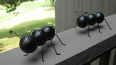 Ant Crafted Out of Recycled Golf Balls and Wire Hangers, via YouTube.