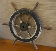 Fab Distressed Vintage Antique BOAT WHEEL...Rustic Nautical Chic Decor...OOAK on Etsy, $175.00