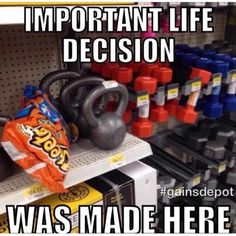 A life decision was made here.haha hilarious images and memes for people who hate dieting and love fitness and the gym! Funny Diet Memes, Diet Humor, Funny Jokes, Hilarious, Funny Gym, Workout Memes, Gym Memes, Workouts, Exercises