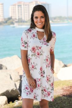 Ivory Floral Mock Neck Dress with Pockets