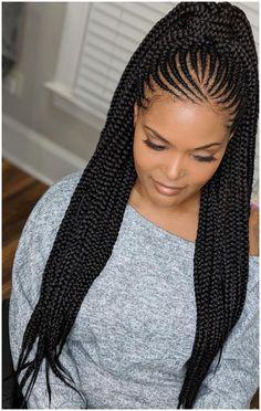Box Braids Hairstyles, Braided Ponytail Hairstyles, African Hairstyles, Trendy Hairstyles, Cornrow Ponytail, Popular Hairstyles, Half Cornrows, Hairstyles Haircuts, Braids Cornrows