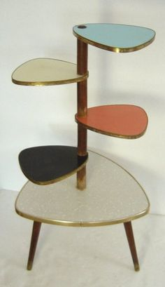 stylish Atomic Age Eames Era multicolour plant display table