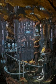 of the rings, Lothlorien concept art Concept Art Landscape, Fantasy Concept Art, Fantasy Landscape, Fantasy Artwork, Fantasy City, Fantasy Places, Fantasy World, Tolkien, Elven City