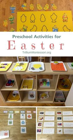 Easter themed activities for preschool, including pre-literacy, fine motor, sorting, matching, manipulatives, using easy to find materials.