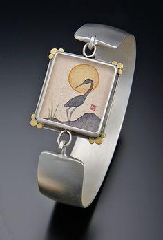Crane Silhouette Cuff Bracelet by Ananda Khalsa: Silver Bracelet available at www.artfulhome.com