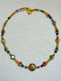 Multicolor Millefiori Gemstone and Glass Bead by EEEMAsBeads