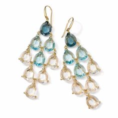 Ippolita 18k Gemma Cascade Topaz & Quartz Chandelier Earrings ($2,100) ❤ liked on Polyvore featuring jewelry, earrings, 18 karat gold earrings, tear drop earrings, teardrop earrings, clear crystal earrings and 18k earrings