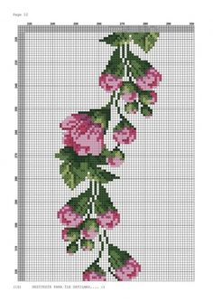 Her Crochet - Her Crochet Cross Stitch Rose, Cross Stitch Borders, Cross Stitch Flowers, Cross Stitch Patterns, Purple Roses, Cute Pattern, My Flower, Blackwork, Needlepoint