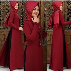 Görüntünün olası içeriği: 3 kişi Abaya Fashion, Muslim Fashion, Tall Girl Fashion, Modest Fashion, Hijabi Gowns, Silk Kurti Designs, Red Frock, Casual Dresses For Women, Clothes For Women