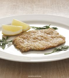 My veal Milanese at just 13 grams of fat and 311 calories per serving! Veal Milanese, Rocco Dispirito, Bread Crumbs, Food Hacks, Banana Bread, Clean Eating, Low Carb, Fat, Favorite Recipes
